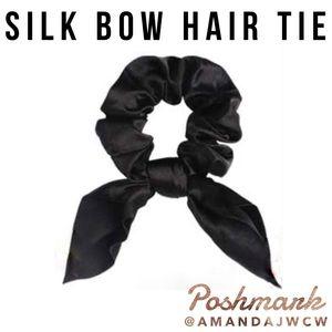Silk Bow Hair Tie Scrunchie - Black